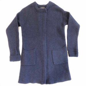 Tahari Navy Blue Duster 100% Merino Wool Small